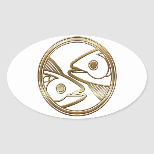 Brass and Copper Pisces Zodiac Astrology Sticker
