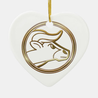 Brass and Copper Taurus Zodiac Astrology Ceramic Heart Decoration