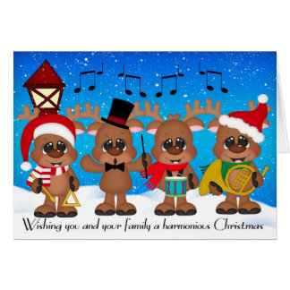 Brass Band Christmas Reindeer Greeting Card