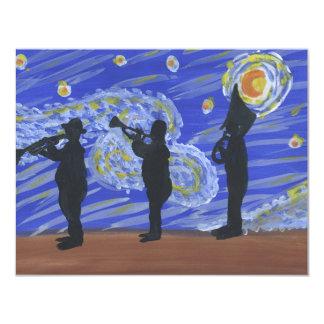 Brass Band New Orleans Starry Night 11 Cm X 14 Cm Invitation Card