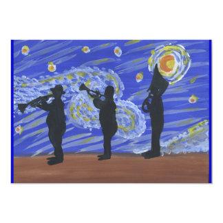 Brass Band Starry Night 13 Cm X 18 Cm Invitation Card
