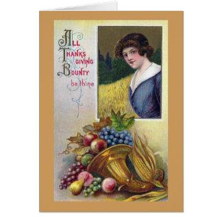 Brass Cornucopia and Lady Vintage Thanksgiving Card