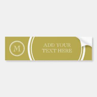 Brass High End Colored Monogrammed Bumper Sticker