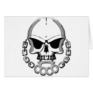 Brass knuckles skull card