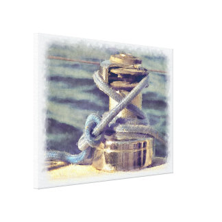 Brass Sailboat Winch Rope Watercolor Canvas Print