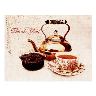 brass tea-pot, a cup of tea and jam tank you postcard