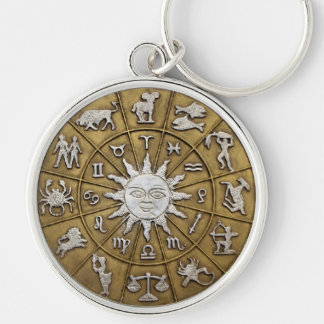 Brass Zodiac Wheel Key Ring