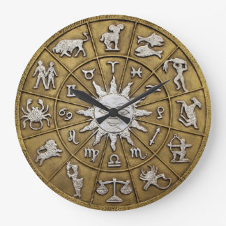 Brass Zodiac Wheel Large Clock