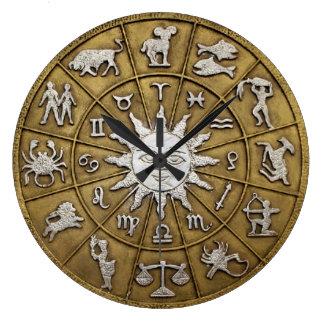 Brass Zodiac Wheel Wall Clock