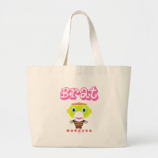 Brat-Cute Monkey-Morocko Large Tote Bag