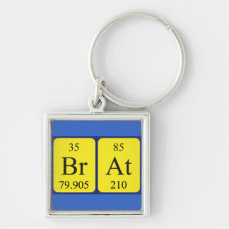 Brat periodic table name keyring Silver-Colored square key ring
