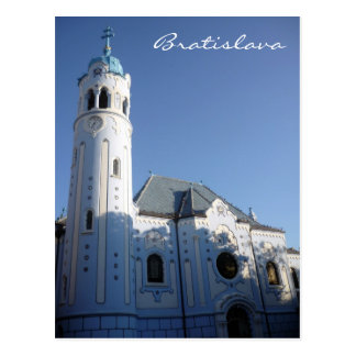 bratislava blue church sun postcard