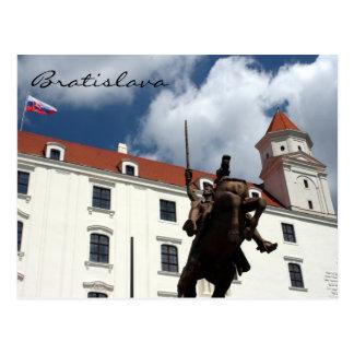 bratislava castle statue postcard