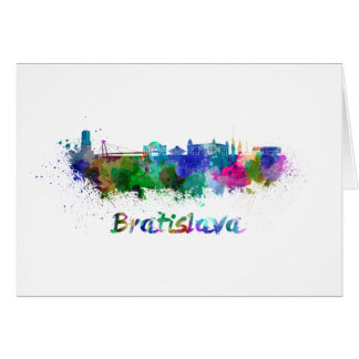 Bratislava skyline in watercolor card