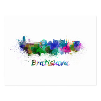 Bratislava skyline in watercolor postcard