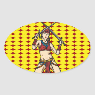 Brave Amazon Women Oval Stickers