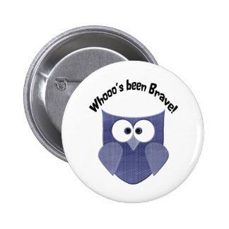 Brave Blue Cute Owl 6 Cm Round Badge