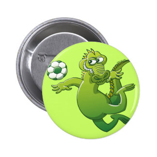 Brave Crocodile Heading a Soccer Ball Pin