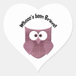 Brave Cute  Pink Owl Heart Sticker