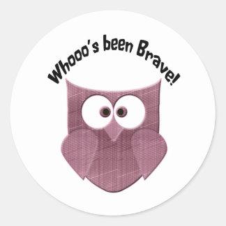 Brave Cute  Pink Owl Round Sticker