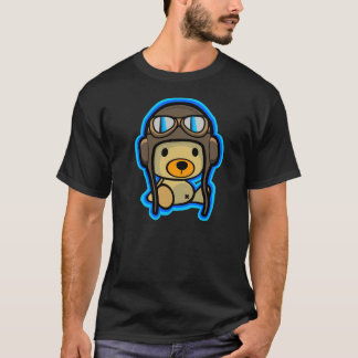 Brave cute teddy bear pilot in dark shirt