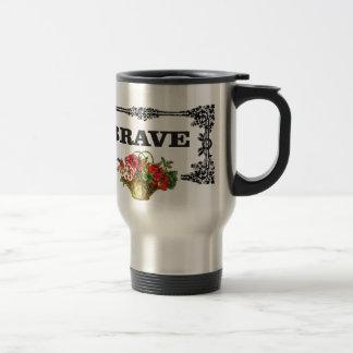 brave flower art travel mug