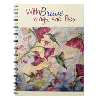 Brave Inspiration Hummingbird Art Notebook-Journal Spiral Notebook