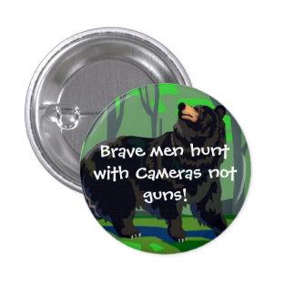 Brave men hunt with cameras 3 cm round badge