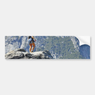 Brave Person Walking Out On The Glacier Point Ledg Bumper Sticker