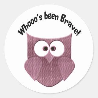 Brave Pink Owl Round Sticker