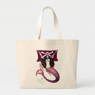 Brave Pirate Mermaid Tote ~ by Kat Jumbo Tote Bag