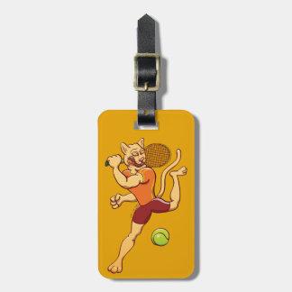 Brave puma smashing a tennis ball luggage tag