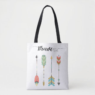 """Brave Spirit"" Text and Boho Arrow Graphic 