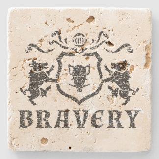 Bravery Boar Blazon Travertine Coaster