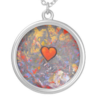 Bravery courage facing fears bold modern heart art round pendant necklace