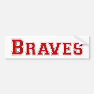 Braves square logo in red bumper sticker