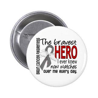 Bravest Hero I Ever Knew Brain Cancer 6 Cm Round Badge