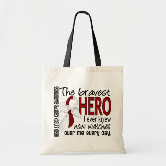 Bravest Hero I Ever Knew Head and Neck Cancer Canvas Bags