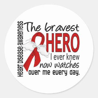 Bravest Hero I Ever Knew Heart Disease Round Sticker