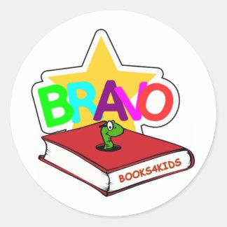 Bravo Star for Bookworms Round Sticker