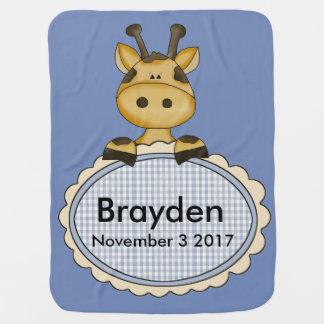 Brayden's Personalized Giraffe Swaddle Blankets