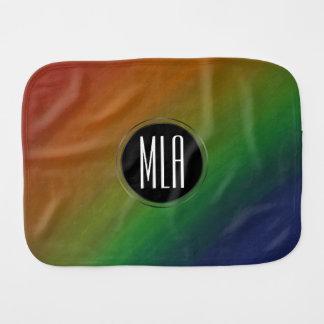 Brazen Baby | Monogram Abstract Rainbow Ombre | Burp Cloth