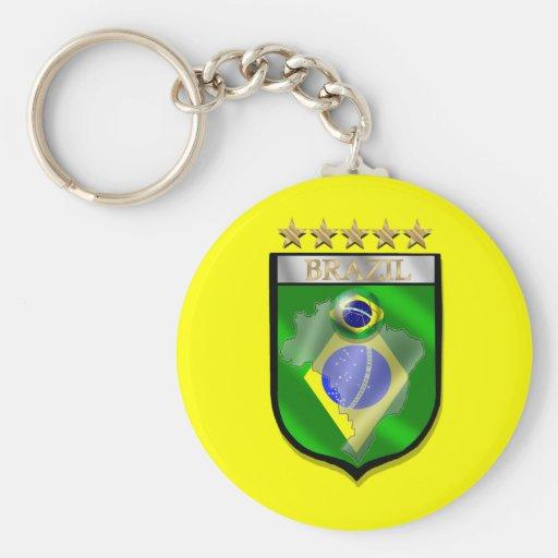 Brazil 5 star badge futebol shield gifts key chain