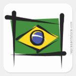 Brazil Brush Flag Square Stickers