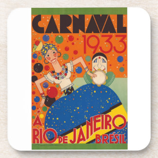 Brazil Carnival 1933 Vintage World Travel Poster Coaster
