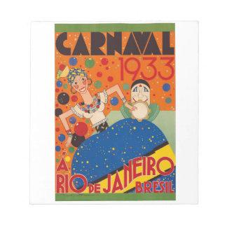 Brazil Carnival 1933 Vintage World Travel Poster Notepad