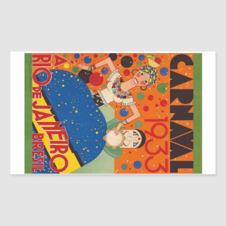 Brazil Carnival 1933 Vintage World Travel Poster Rectangular Sticker