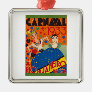 Brazil Carnival 1933 Vintage World Travel Poster Silver-Colored Square Decoration