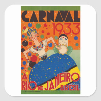 Brazil Carnival 1933 Vintage World Travel Poster Square Sticker