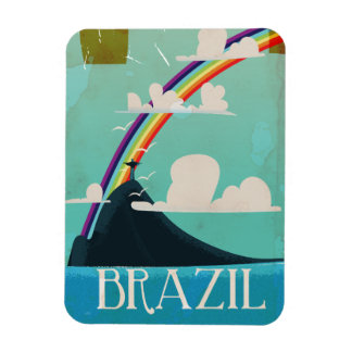 brazil christ the redeemer vintage travel poster magnet